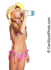 Little girl in swimsuit with bottle of water isolated on white background