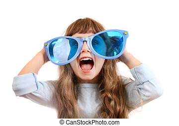 Little Girl in the Big Glasses - Cheerful Little Girl with...