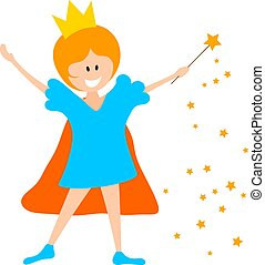 Little girl in the crown and with a magic wand on a white background. A young enchantress princess conjures a magic wand. Vector illustration