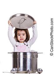 Little girl in the pot
