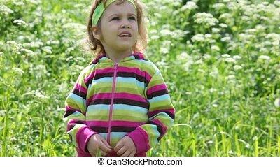 Little girl in the purple blouse on the green field