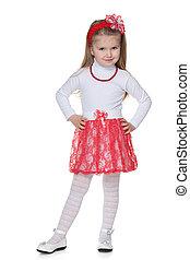 Little girl in the red skirt