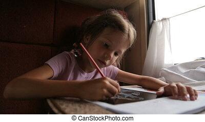 Little girl in the train