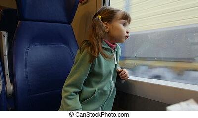 Little girl in train