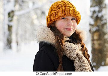 Little Girl in Winter Forest