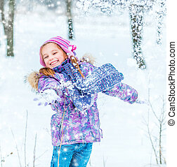 little girl in winter time