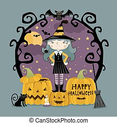 Little girl in witch costume on three pumpkins.