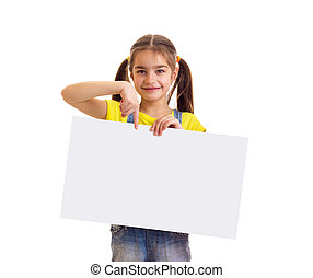 Little girl in yellow t-shirt holding white empty placard