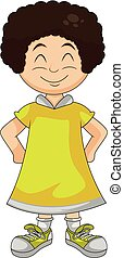 little girl in yellow with hands on hips and smiling cartoon vector illustration