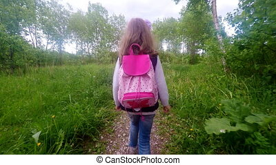 Little girl is going home from scho