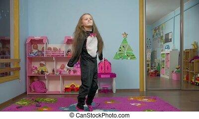 Little Girl Is Jumping - Little caucasian white european...