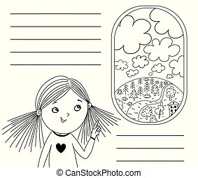 Little girl is pointing to a plane's porthole. Black and white illustration for coloring book. Vector outline illustration.