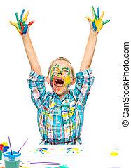 Little girl is rising her hands up in joy
