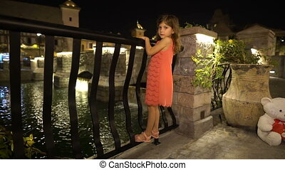 Little girl is swinging on the fence slow motion