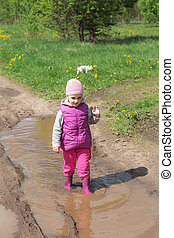 girl is walking in a puddle