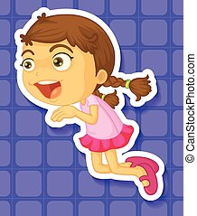 Little girl jumping and smiling