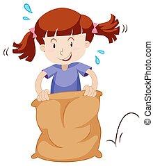 Little girl jumping in the sack illustration
