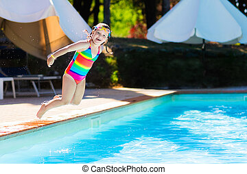 Little Girl Jumping Into Swimming Pool Happy Little Girl Jumping Into Outdoor Swimming Pool In