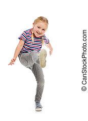 Little girl kick by foot