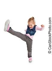 Little girl kick by foot.