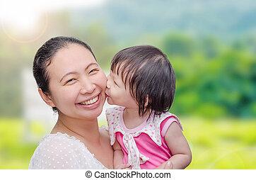 Little girl kissing her mom