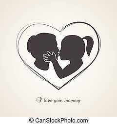 Little girl kissing her mom on Mothers Day