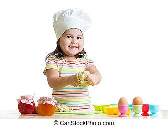 little girl kneading dough - child little girl kneading...