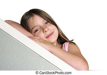 Little Girl Leaning - a little girl leaning on a bannister -...