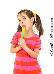 Little girl licking the color ice cream, isolated on white