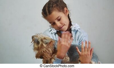 little girl lifestyle holding a cat in her arms. kosh and...