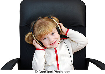 little girl listen music