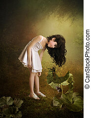 Little girl with his head bowed with long hair listens spellbound young violinist, mouse sits under burdock, magical forest.
