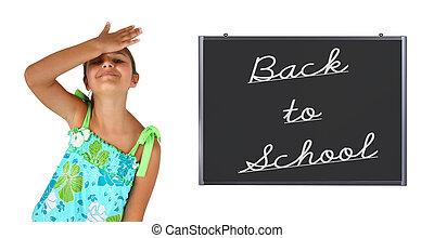 Little girl back to school