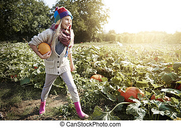 Little girl looking for pumpkin in the field