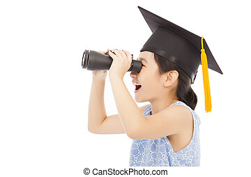 Little girl looking through binoculars. isolated on white