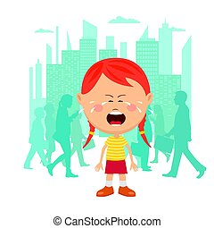 Little girl lost in city crying in front of a crowd of people passing by