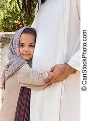 Little girl loving Jesus