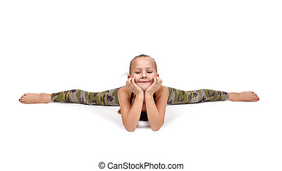 yoga position - little girl lying on the floor in yoga...