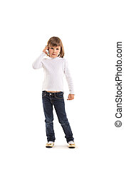 little girl making phone call