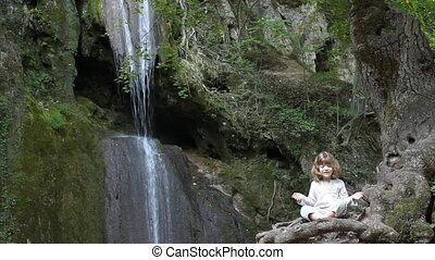 little girl meditate