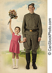 Little girl meets a soldier
