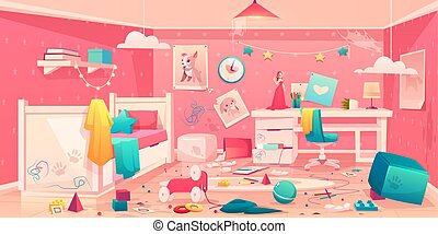 Little girl messy bedroom cartoon vector interior