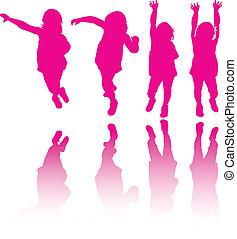 Little girl modeling or dancing silhouette background vector