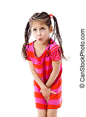 Little girl need a pee, isolated on white