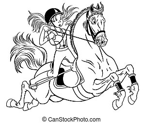 little girl on a pony horse