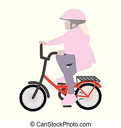 Little girl on a small bicycle helmet