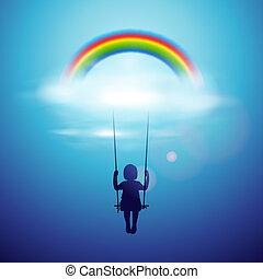 Little girl on a swing under the rainbow