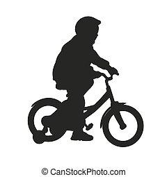 Little girl on bike. Vector isolated silhouette