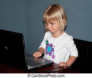 Little Girl on Computer