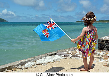 Little girl on family travel holiday vacation in Fiji